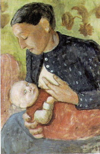 Paula Moderzon-Becker. Nursing mother Paula Moderson-Becker. 1902