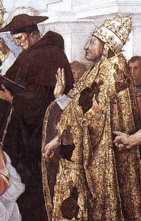 "The stanza della senyatura. The Fresco ""Dispute"". Snippet: Bonaventure, Pope Sixtus IV"