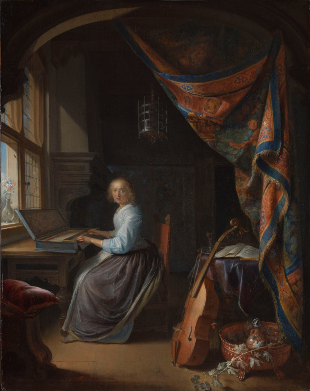 Gerrit (Gerard) Dow. Young lady playing a clavichord