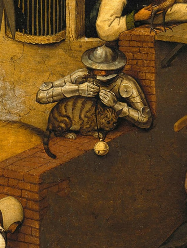 Pieter Bruegel The Elder. Flemish proverbs. Fragment: Hanging a bell on a cat - to commit a dangerous and unreasonable act
