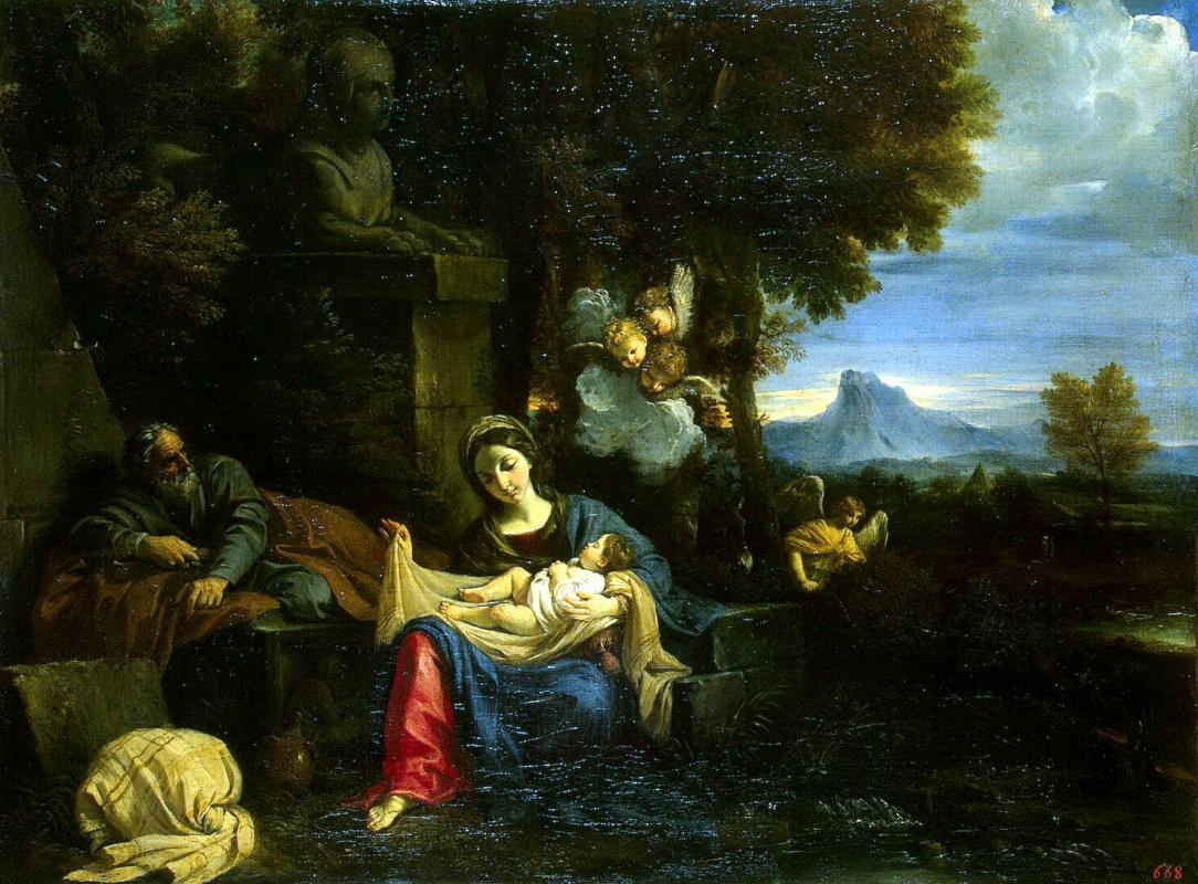 Пьер Франческо Мола. Отдых Святого Семейства на пути в Египет