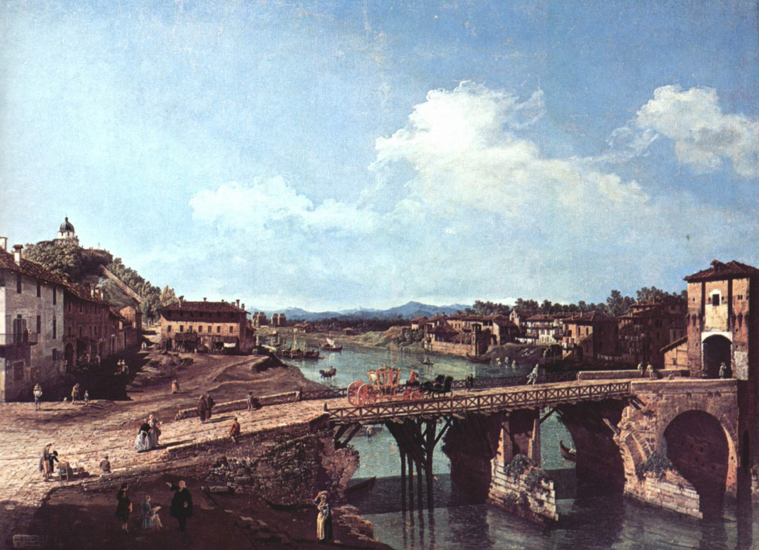 Giovanni Antonio Canal (Canaletto). View of the ancient bridge on the river Po in Turin