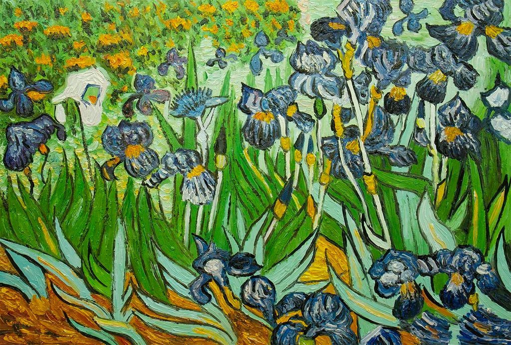 "Andrzej Vlodarczyk. Copy of Van Gogh's painting ""Irises"""