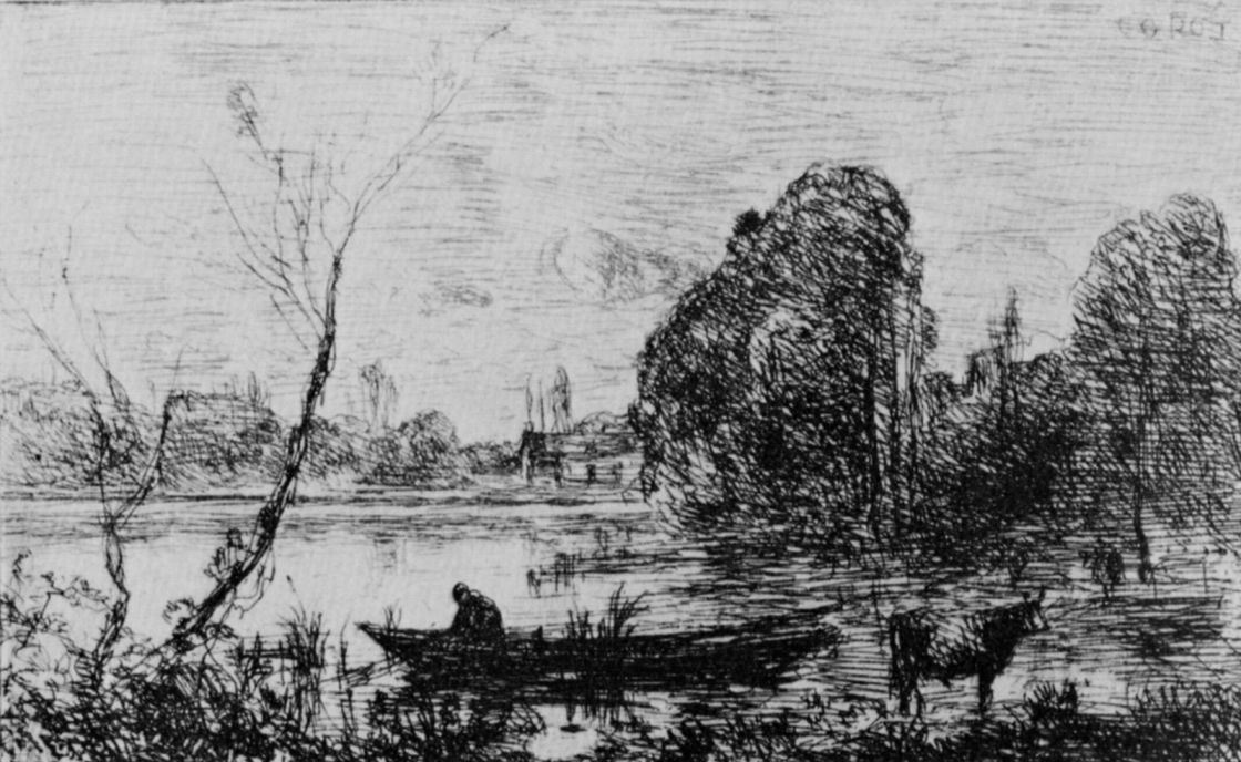 Camille Corot. Wil d'Avre, pond with boat