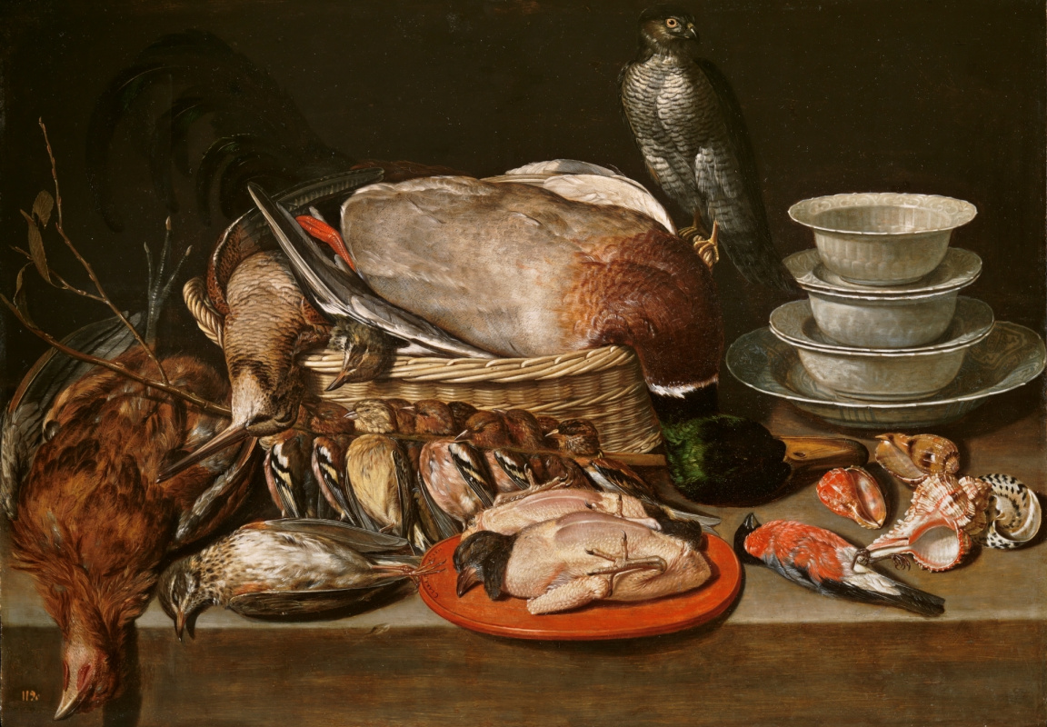 Clara Peeters. Still life with a Sparrowhawk, a bird, and porcelain sinks