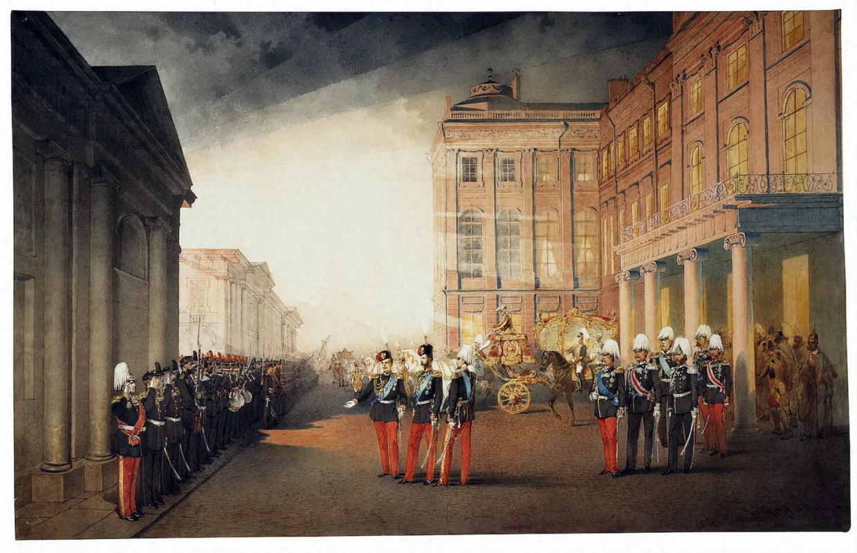Михай Зичи. Парад перед Аничковым дворцом