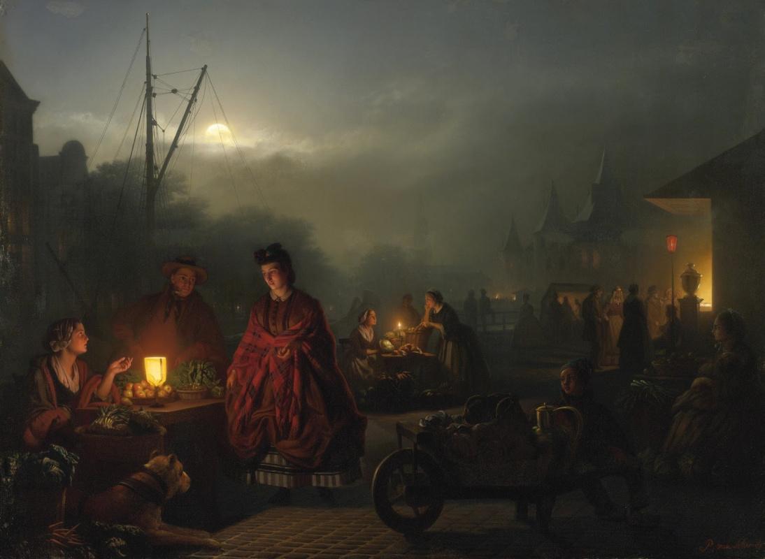 Петрус ван Шендель. Ночной рынок.