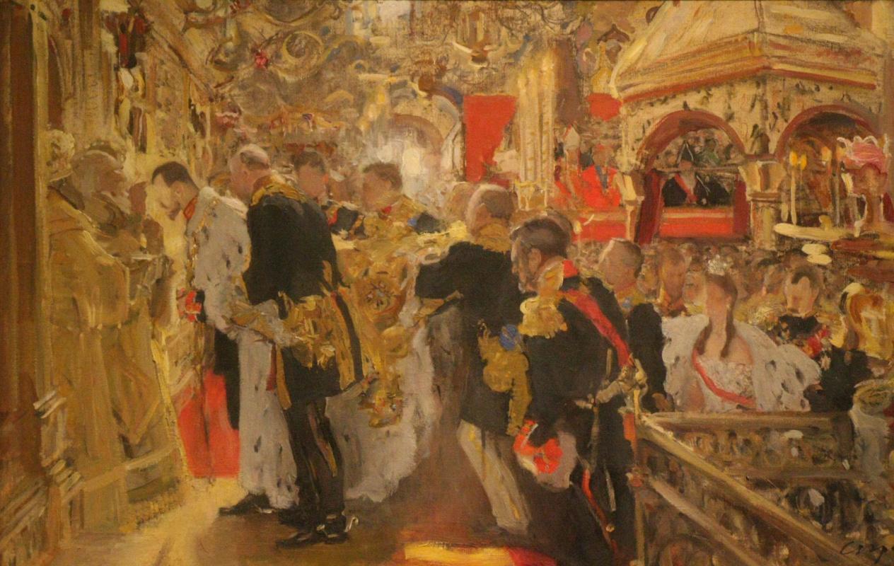 Валентин Александрович Серов. Коронация. Миропомазание Николая II в Успенском соборе