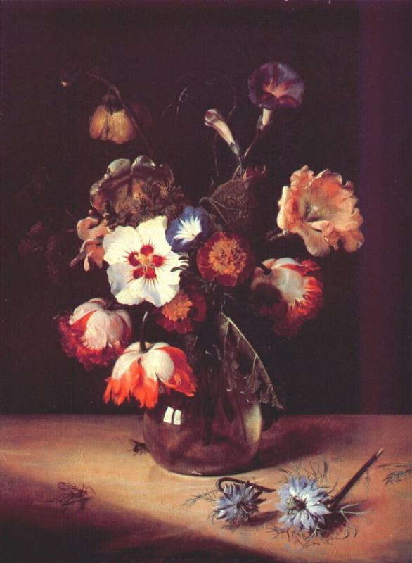 Ян де Брей. Цветы в стеклянной вазе