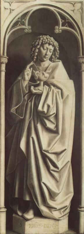 Губерт ван Эйк. Гентский алтарь, алтарь мистического агнца, правая створка внешняя сторона, нижняя внутренняя сцена: св. Иоанн Евангелист