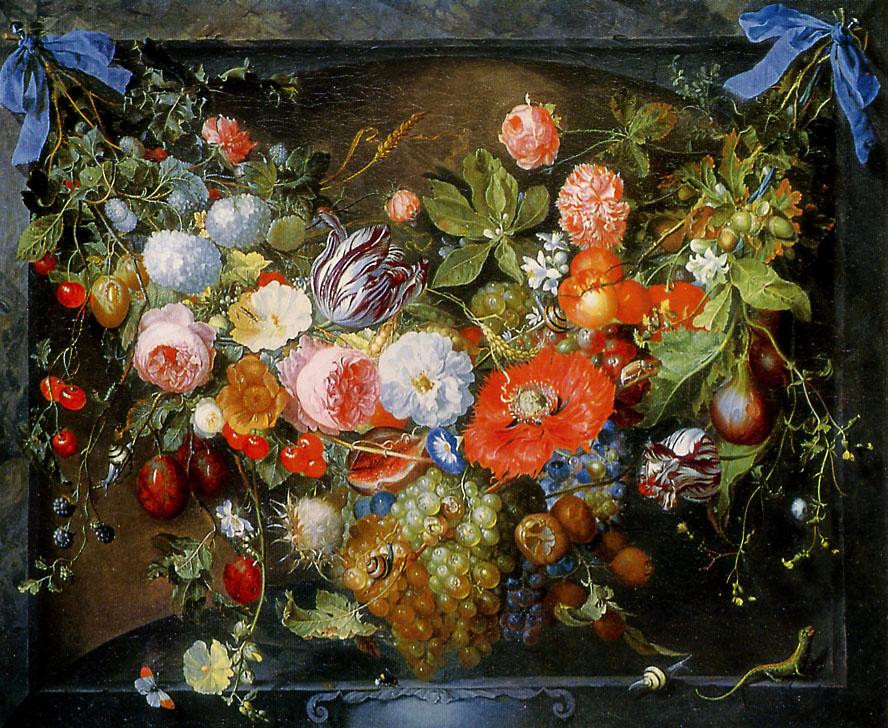 Jan Davids de Hem. Floral still life (Garland)