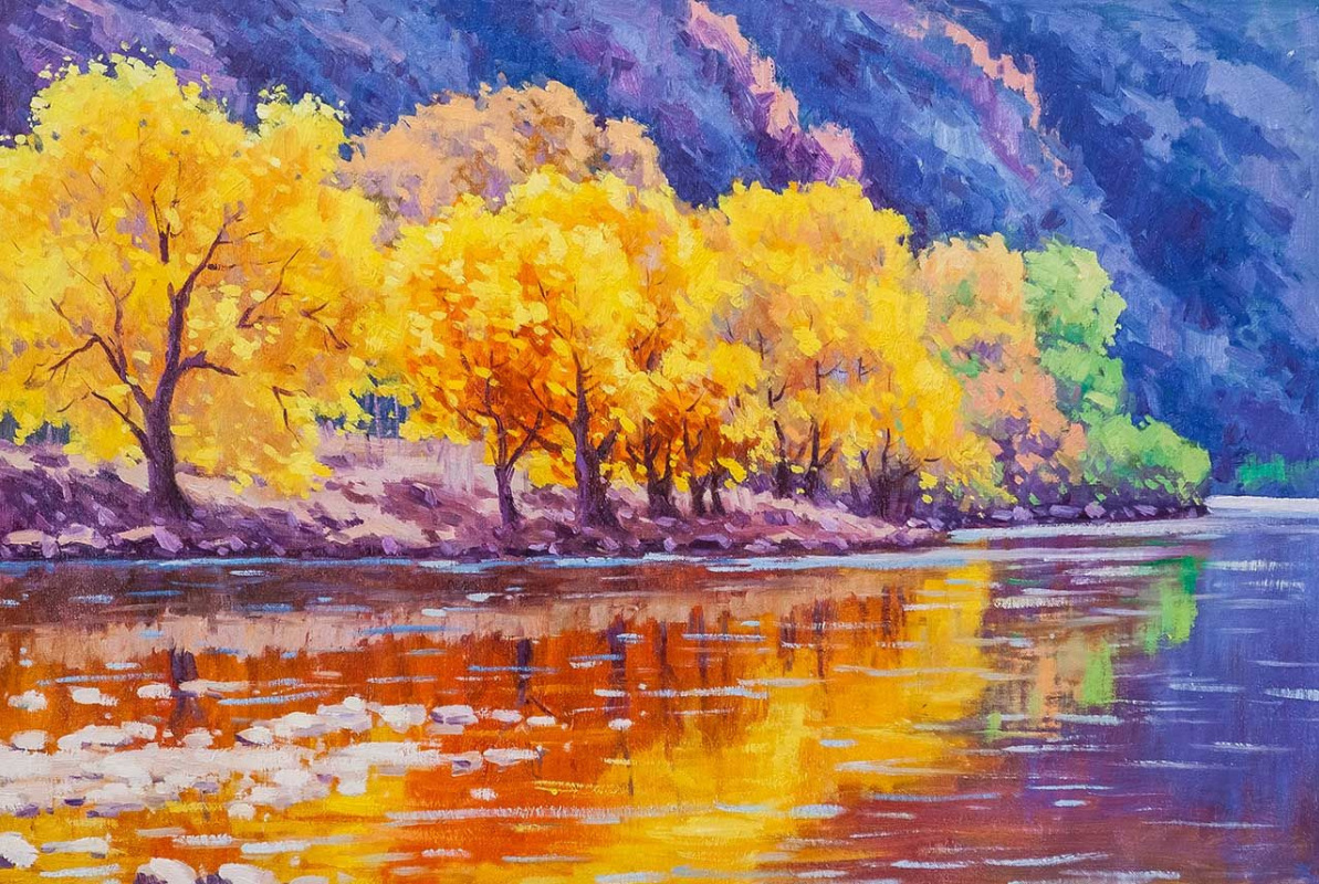 Andrey Sharabarin. Autumn floats on the river ...