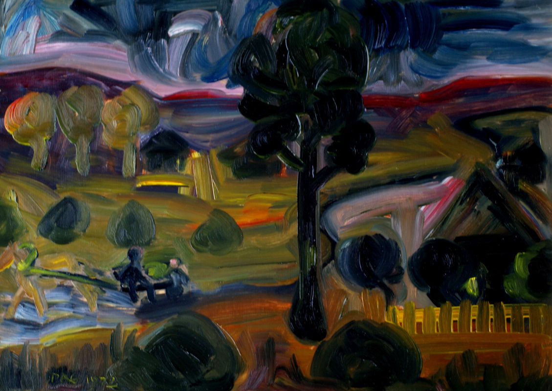 Alexander Ocher Kandinsky-DAE. Dawn in Ertegovo. Oil on cardboard, 35-49, 1971.