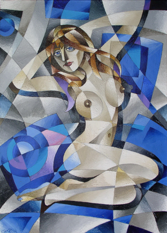 Андрей Саратов. Обнажённая на голубых подушках