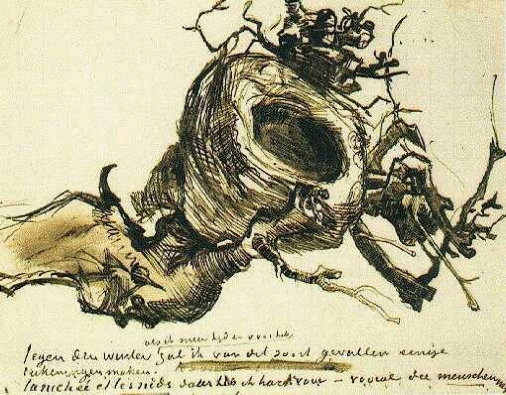 Vincent van Gogh. A bird's nest. The figure in the letter