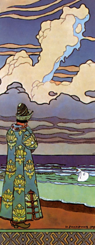 """Ivan Yakovlevich Bilibin. """"The white swan is swimming ..."""" Illustration to the """"Tale of Tsar Saltan"""" by A. S. Pushkin"""