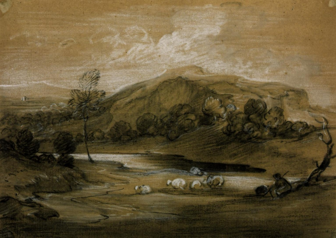 Thomas Gainsborough. Landscape with shepherd and sheep