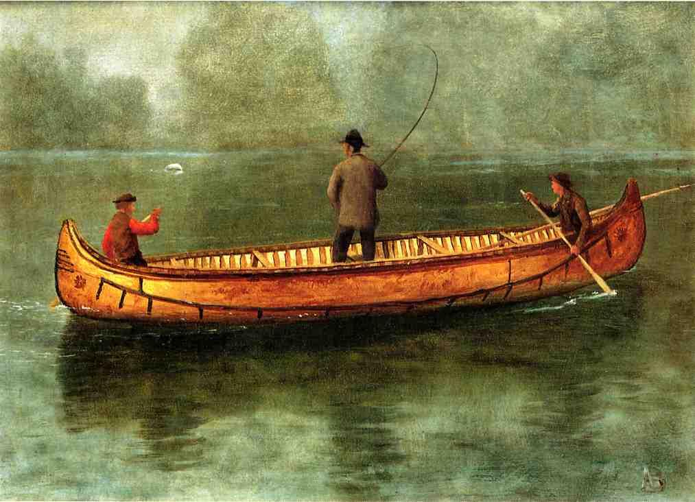 Альберт Бирштадт. Рыбалка с каноэ