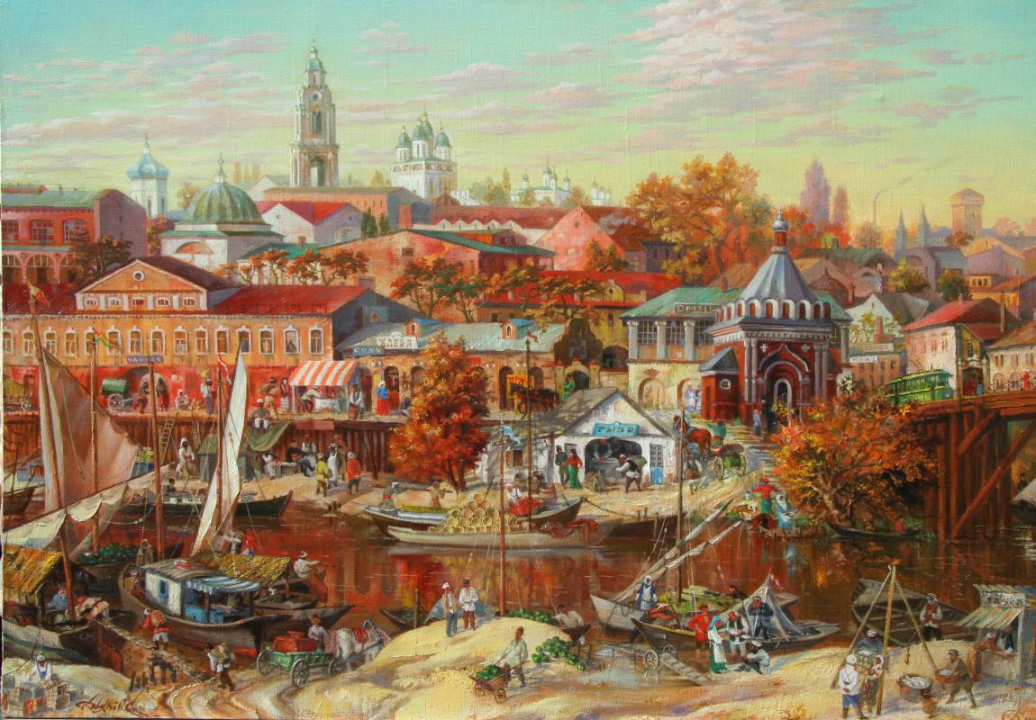 Сергей Геннадьевич Дьяков. Рыбный рынок на реке Кутум возле часовни в 1915 году.  х/м 80 х 120 см.