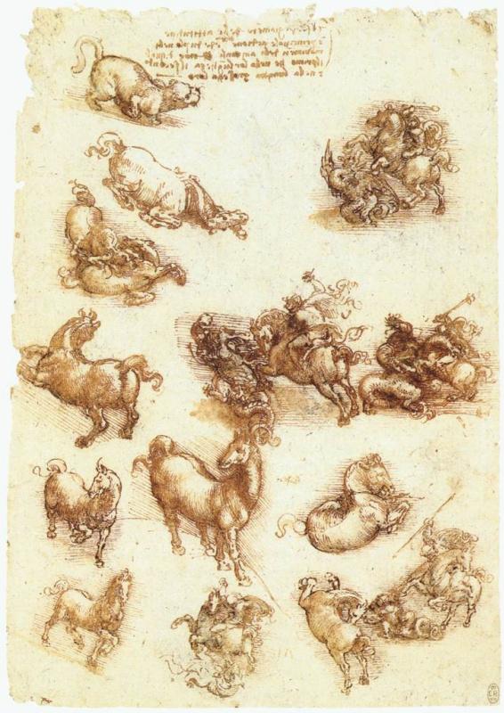 Леонардо да Винчи. Зарисовки лошадей