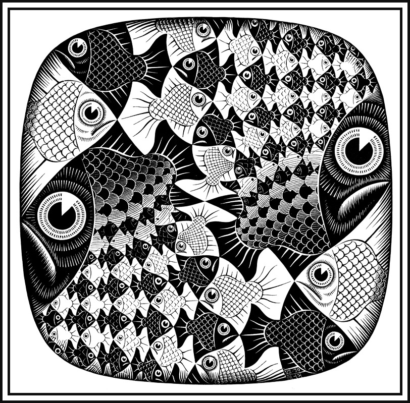 Maurits Cornelis Escher. Fish and scales