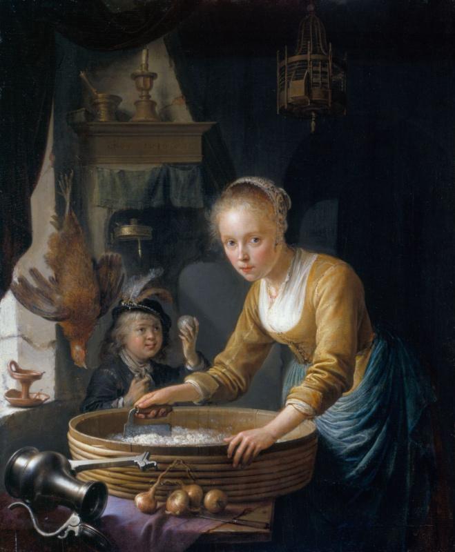 Gerrit (Gerard) Dow. The girl chopping onions