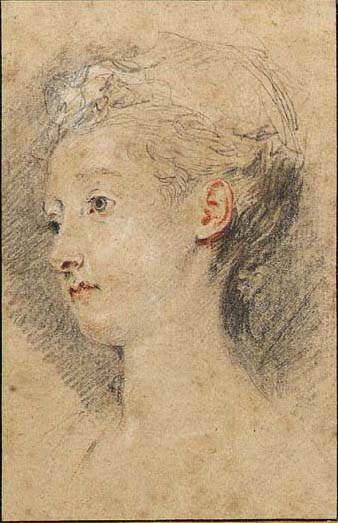 Antoine Watteau. Head of a young girl turned to the left