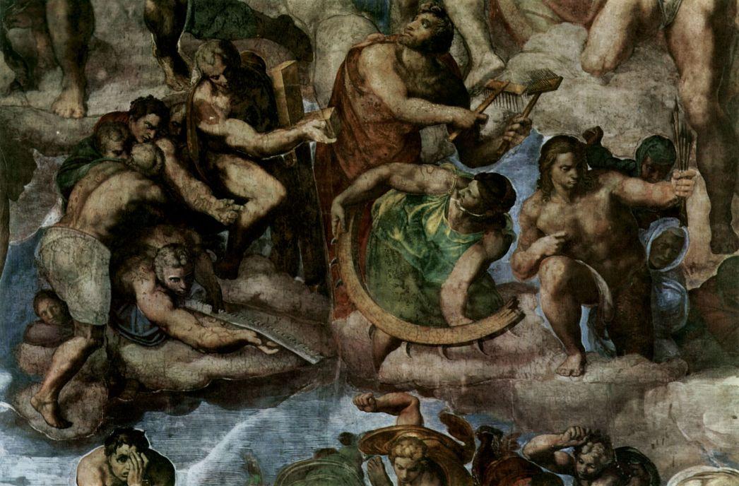 Микеланджело Буонарроти. Страшный суд, деталь: Группа мучеников в инструментами их пыток