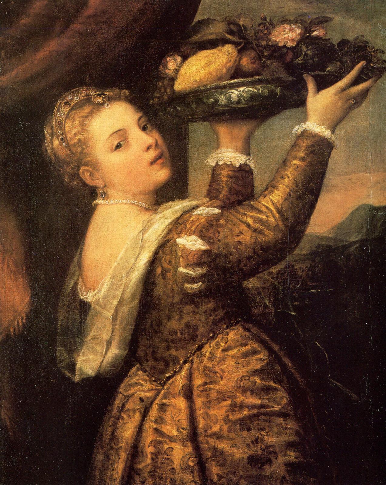 Тициан Вечеллио. Девушка с корзиной фруктов (Дочь художника Лавиния)