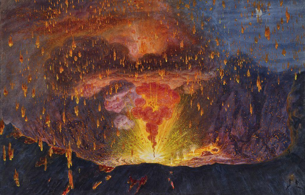 Август Копиш. Кратер Везувия и извержение в 1828