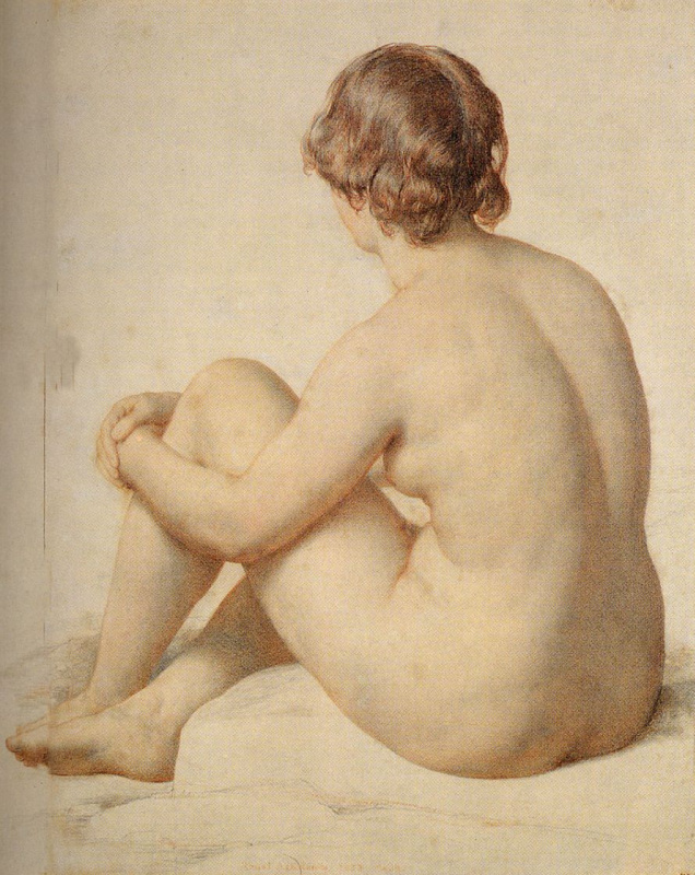 William Malredi. Academic study of a Nude sitting on the ground