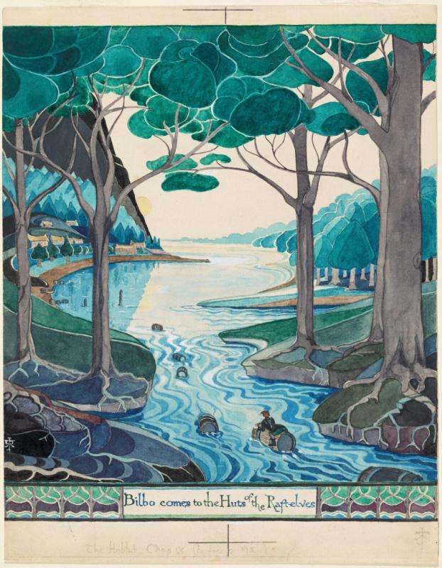 Бильбо плывёт по Лесной реке