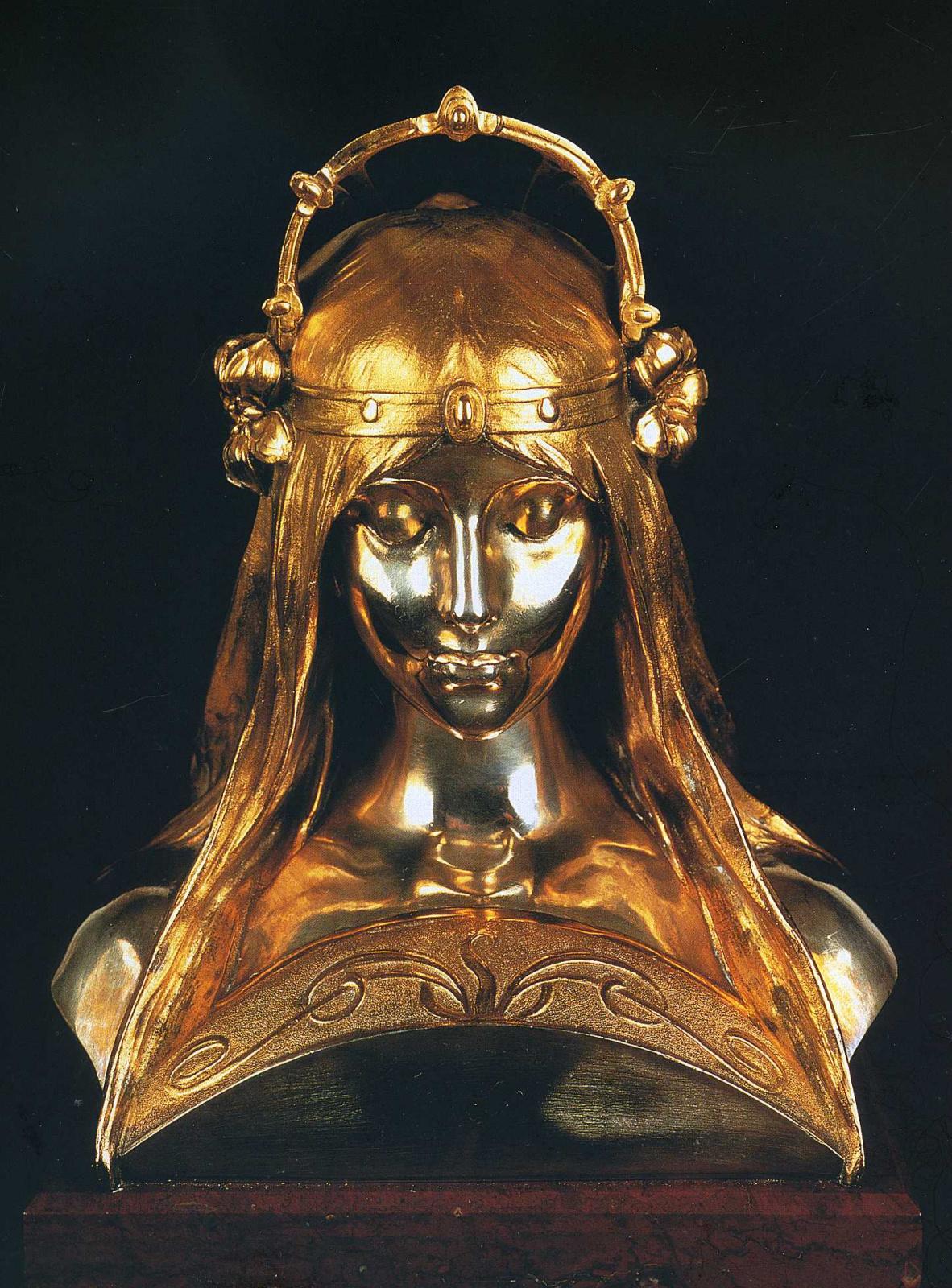 Альфонс Муха. Голова девушки, статуя на стенде парфюмерной компании Убиган  на Парижской выставке 1900 года
