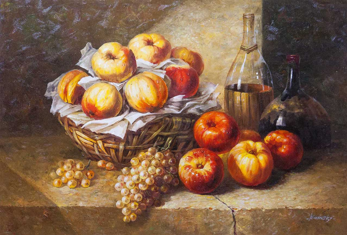"""Savely Kamsky. Still life with wine and grapes """""""""""