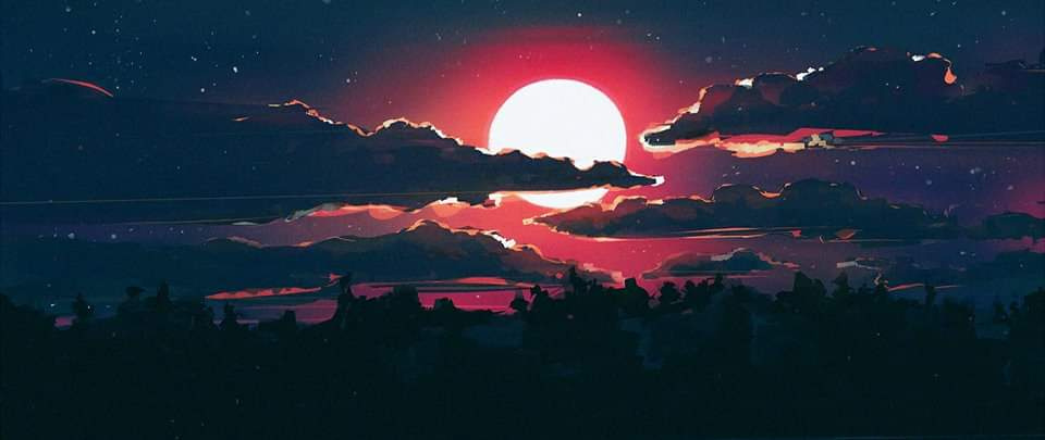 Akan Muzzled. Artwork : Red Moon And Big Clouds
