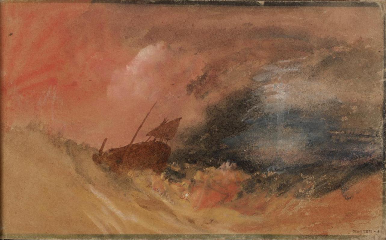 Joseph Mallord William Turner. A ship in turbulent waters