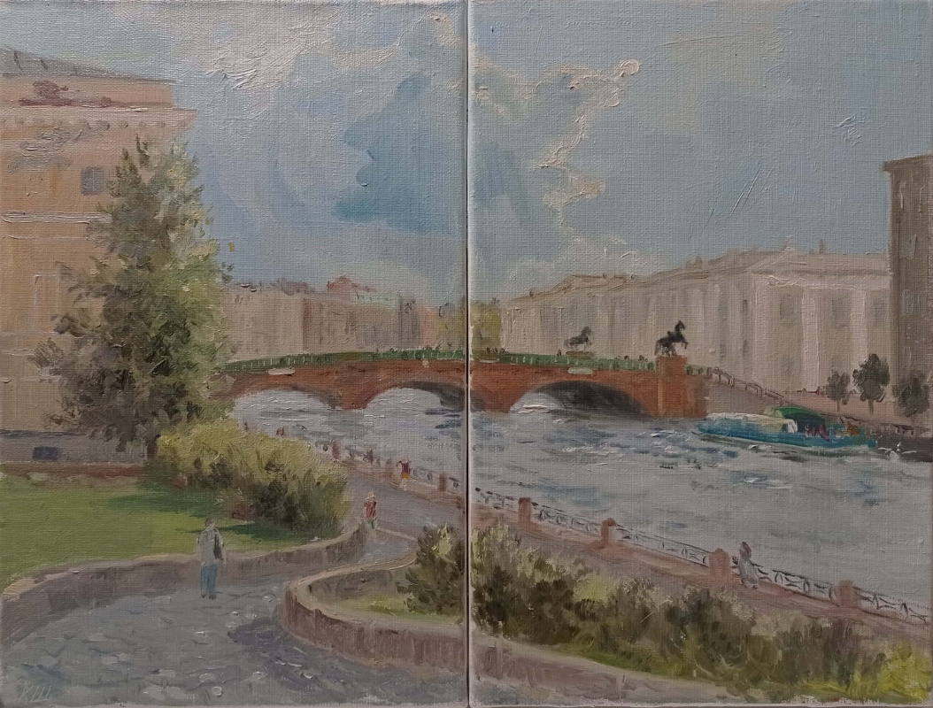 Christina Shchekina. Anichkov bridge. Diptych