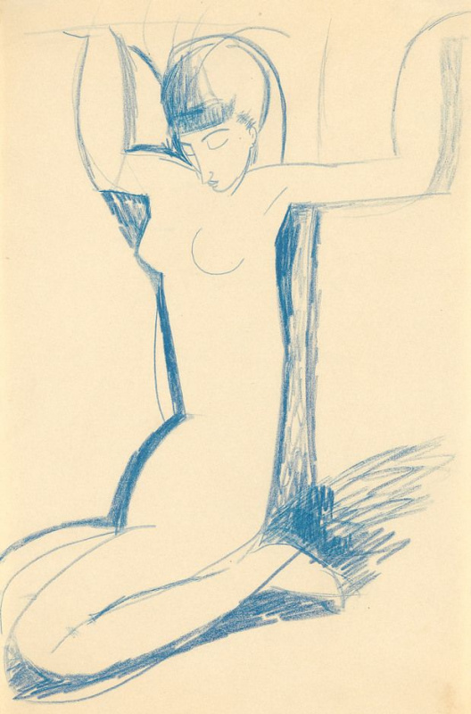 Amedeo Modigliani. Kneeling (Blue Caryatid)