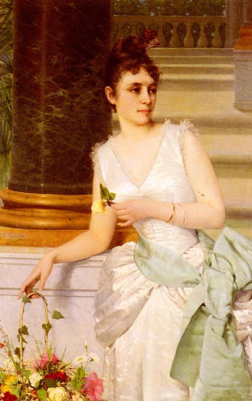Франц Лео Рубен. Портрет дамы с зеленым  атласным поясом