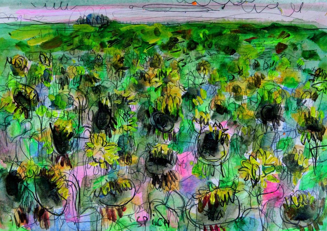 Ilya Pavlovich Spichenkov. Field of mature sunflowers