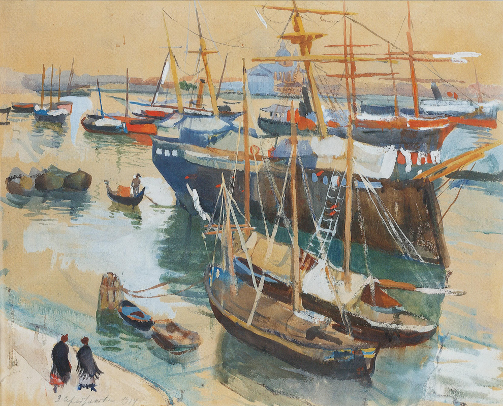 Zinaida Yevgenyevna Serebriakova. In the Harbor