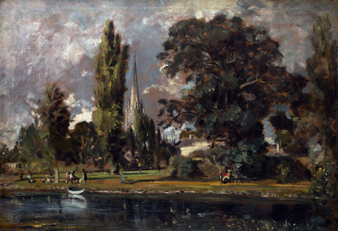 John Constable. Salisbury Cathedral and Lidenhall from the Avon River. National Gallery, London.