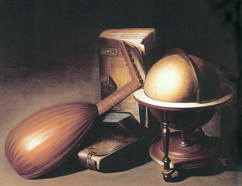 Геррит Доу. Натюрморт с глобусом,  лютней и книгами