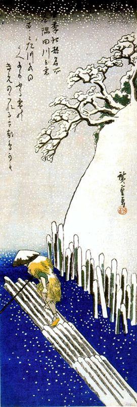 Утагава Хиросигэ. Зима, снег на реке Сумида