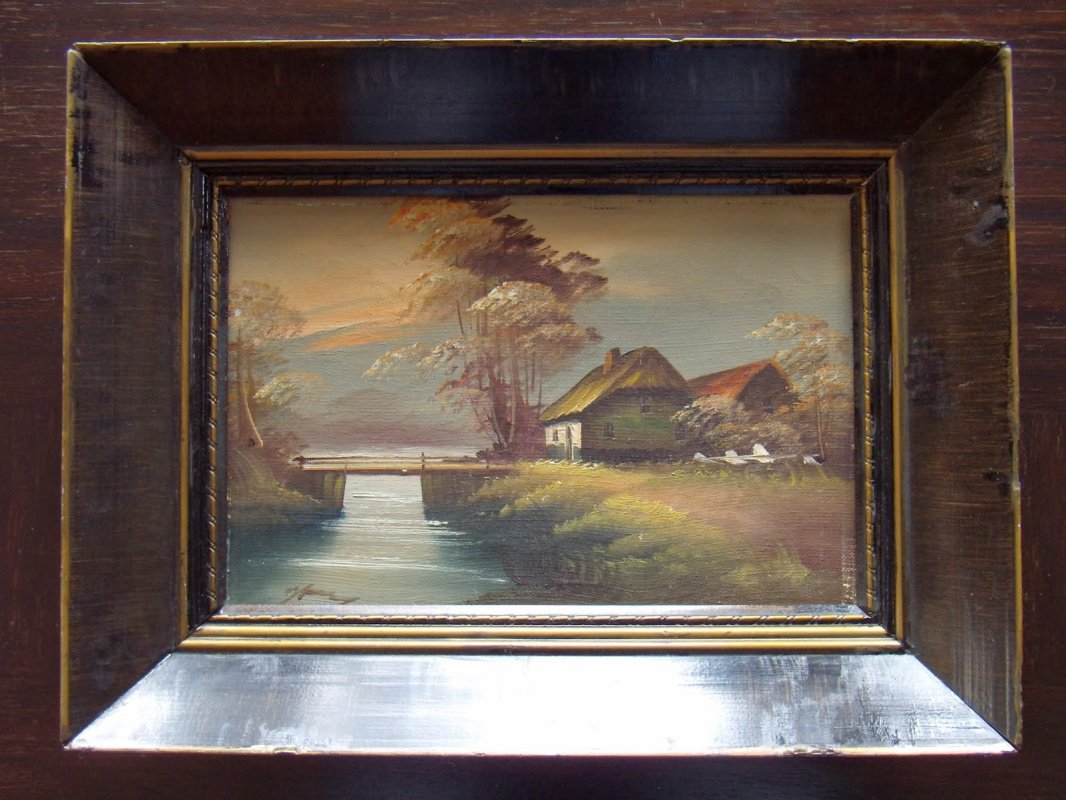 Unknown artist. Danish village landscape.