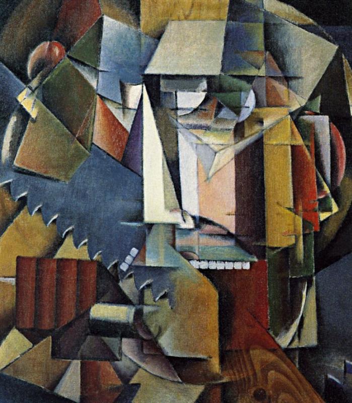 Ivan Vasilyevich Klyun. Self-portrait with saw