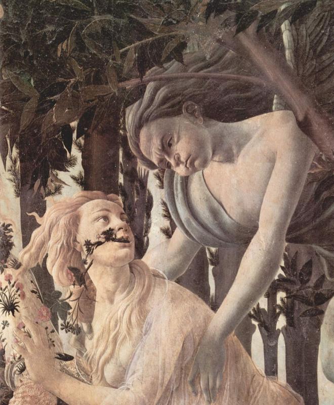 Сандро Боттичелли. Весна. Деталь: Зефир, бог ветра, преследует нимфу Хлою