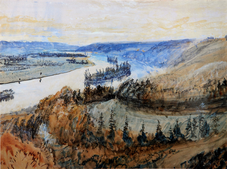 John Ruskin. Islands on the Seine River