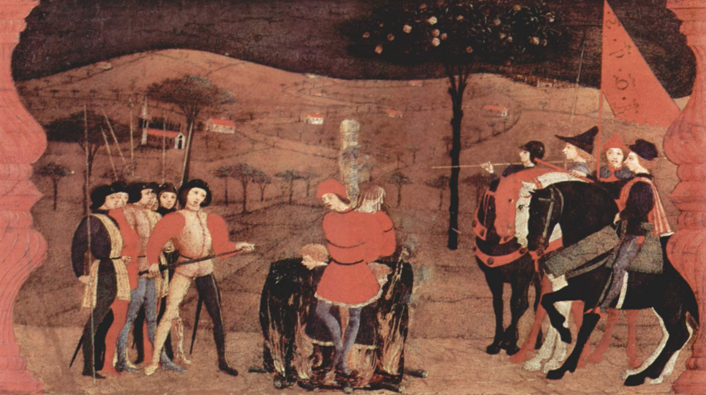 Paolo Uccello. The legend of the communion. A Jewish merchant family burned at the stake