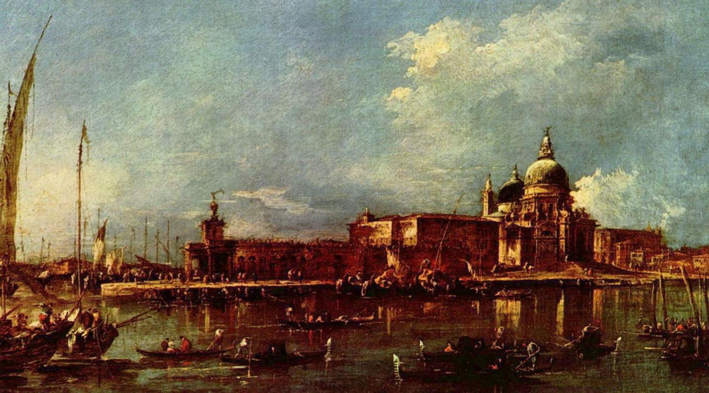 Франческо Гварди. Вид Венеции с церквью Санта Мария делла Салюте и зданием Таможни